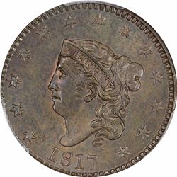 1817 N-13. 13 Stars. Rarity-1. MS-63 BN PCGS.