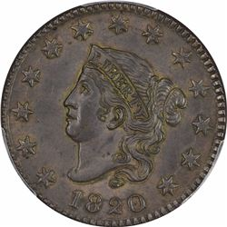 1820 N-13. Rarity-. MS-62 BN PCGS.