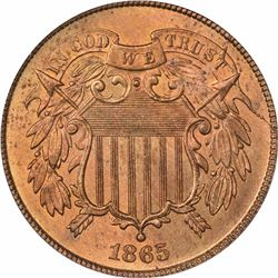 1865 Fancy 5. MS-64 RD PCGS.