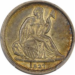 1837 Liberty Seated. No Stars. Small Date. AU-55 PCGS.