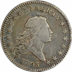 1795 Flowing Hair. O-105. 2 Leaves. Rarity-4. Genuine – Plugged – Fine Details. PCGS.