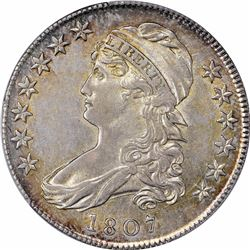 1807 Capped Bust. O-112. Large Stars. 50/20. Rarity-1. AU-53 PCGS.