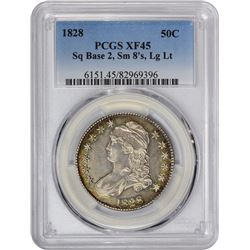 1828 O-111. Square Base 2, Small 8s, Large Letters. Rarity-4. EF-45 PCGS.
