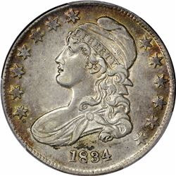 1834 O-114. Small Date, Small Letters. Rarity-1. AU-53 PCGS.