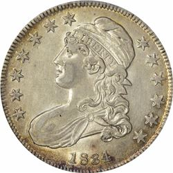 1834 O-116. Small Date, Small Letters. Rarity-1. AU-53 PCGS.