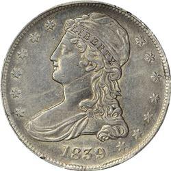 1839 Capped Bust. HALF DOL. Large Letters. GR-5. Genuine – Rim Damage – AU Details PCGS.