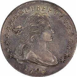 1795 Draped Bust. BB-51, B-14. Off-Center Bust. Rarity-1. AU-55 PCGS.