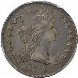1795 Draped Bust. BB-52, B-15. 3 Leaves. Rarity-1+. Genuine – Damage – VF Details PCGS.