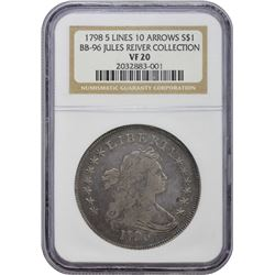 1798 BB-96, B-6. Heraldic or Large Eagle. 5 Lines, 10 Arrows. VF-20 NGC.