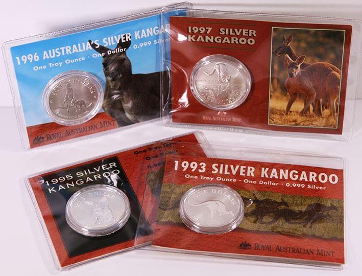 1996 Australia Silver Kangaroo Uncirculated Coin on card