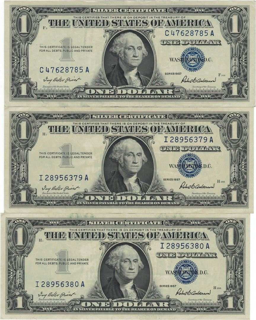 1957 1 Auunc Silver Certificate Currency Lot Of 3 Come To The