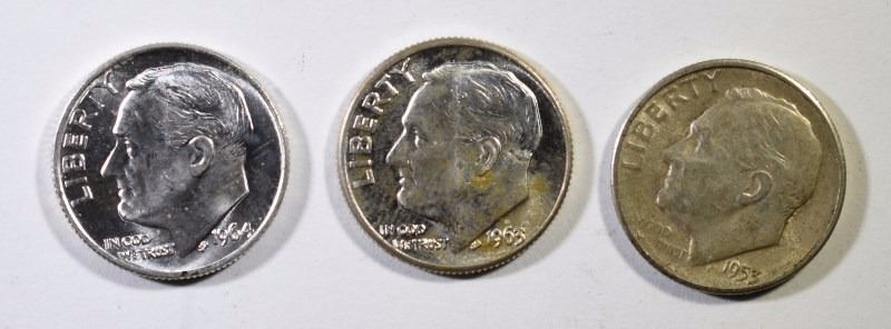 $10 FACE VALUE SILVER ROSIE DIMES - 1964 & EARLIER