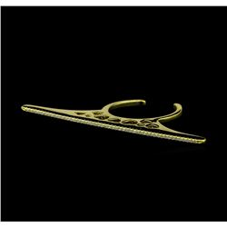 CZ Single Line Bar Ring - Gold Plated
