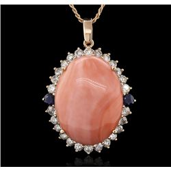32.06 ctw Pink Coral, Sapphire, and Diamond Pendant With Chain - 14KT Rose Gold