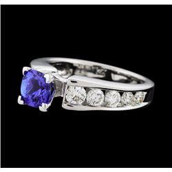 1.10 ctw Tanzanite and Diamond Ring - 14KT White Gold