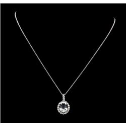 3.67 ctw Aquamarine and Diamond Pendant With Chain - 14KT White Gold