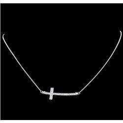 0.55 ctw Diamond Cross Necklace - 18KT White Gold