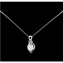0.40 ctw Diamond Pendant with Chain - 14KT White Gold