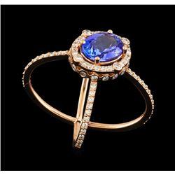 2.28 ctw Tanzanite and Diamond Ring - 14KT Rose Gold