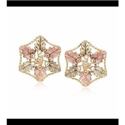 Vintage 10kt Tri-Colored Gold Floral Earrings