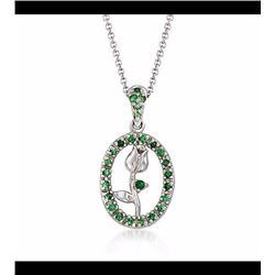 Vintage .20 ct. t.w. Green Tsavorite Tulip Pendant Necklace in 14kt and 18kt White Gold. 16""