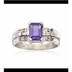 Vintage 1.05 Carat Amethyst and .25 ct. t.w. Diamond Ring in 14kt White Gold. Size 6.5