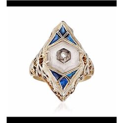 Vintage Crystal and .30 ct. t.w. Synthetic Sapphire Ring With Diamond in 14kt Two-Tone Gold. Size 5.