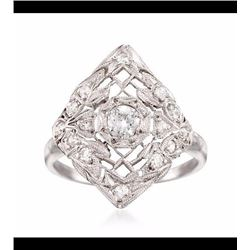 Vintage .45 ct. t.w. Diamond Openwork Navette Ring in Platinum. Size 5.75