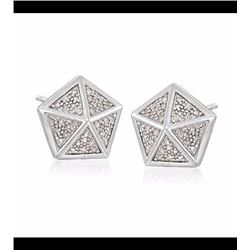 .20 ct. t.w. Diamond Hexagon Pyramid Stud Earrings in Sterling Silver