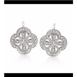 Sterling Silver Openwork Clover Motif Drop Earrings With Diamond Accents