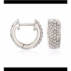 .25 ct. t.w. Diamond Huggie Hoop Earrings in Sterling Silver. 3/8""