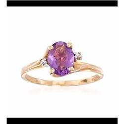 Vintage 1.00 Carat Amethyst Ring With Diamond Ring in 10kt Yellow Gold. Size 6