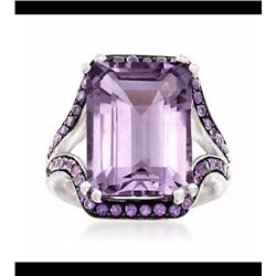 11.75 ct. t.w. Pink and Purple Amethyst Ring in Sterling Silver