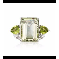 11.00 Carat Emerald-Cut Green Amethyst and 1.40 ct. t.w. Peridot Ring in Sterling Silver