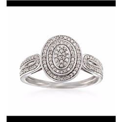 .25 ct. t.w. Pave Diamond Oval Ring in Sterling Silver