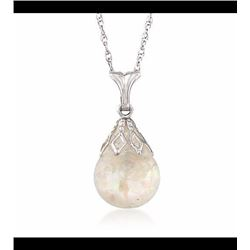 Floating Opal Necklace in 14kt White Gold. 18""