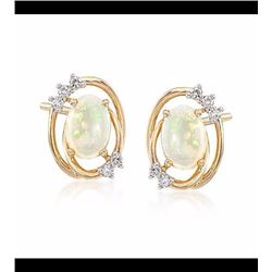 Opal and .12 ct. t.w. Diamond Frame Stud Earrings in 14kt Yellow Gold