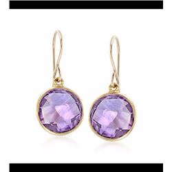 7.00 ct. t.w. Bezel-Set Amethyst Drop Earrings in 14kt Gold Over Sterling