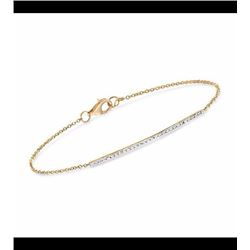 Diamond Accent Narrow Bar Bracelet in 14kt Yellow Gold