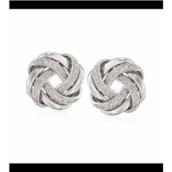 .20 ct. t.w. Diamond Love Knot Earrings in Sterling Silver