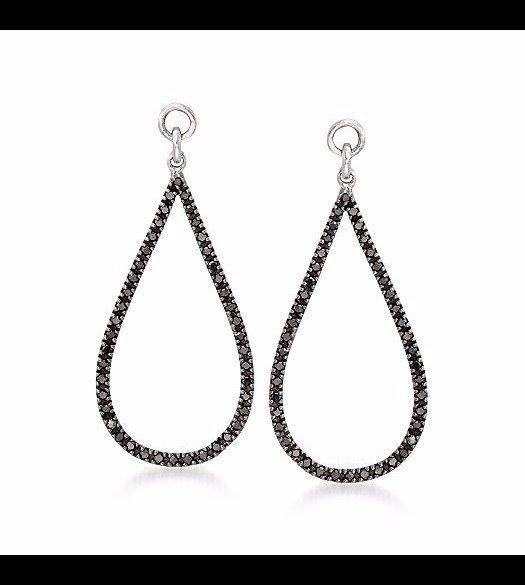 f9bcbdb506e08 .25 ct. t.w. Black Diamond Open Teardrop Earring Jackets in Sterling Silver