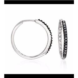 .25 ct. t.w. Black Diamond Hoop Earrings in Sterling Silver. 3/4""