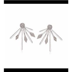.10 ct. t.w. Diamond Front-Back Spiked Earrings in Sterling Silver