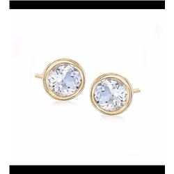 1.20 ct. t.w. Bezel-Set White Topaz Stud Earrings in 14kt Yellow Gold
