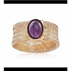 Italian 1.00 Carat Amethyst Mesh Ring in 14kt Yellow Gold