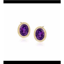2.50 ct. t.w. Amethyst Twist Edge Earrings in 14kt Yellow Gold