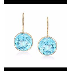 4.20 ct. t.w. Blue Topaz Drop Earrings in 14kt Yellow Gold