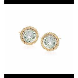 6.80 ct. t.w. Green Amethyst Rope Twist Earrings in 14kt Yellow Gold