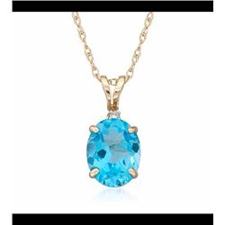 4.70 Carat Blue Topaz Pendant Necklace in 14kt Yellow Gold. 18