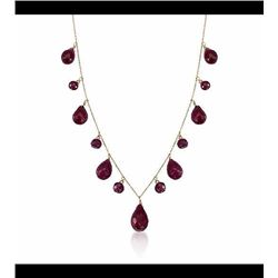 34.15 ct. t.w. Ruby Drop Necklace in 14kt Yellow Gold. 18